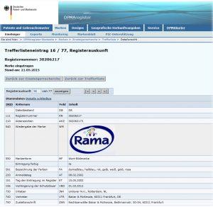 Rechercheergebnis zur Marke Rama beim DPMA