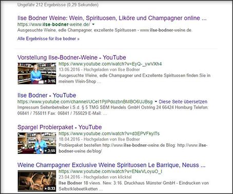 Ilse Bodner Videos ganz oben im Suchmaschinen-Ranking