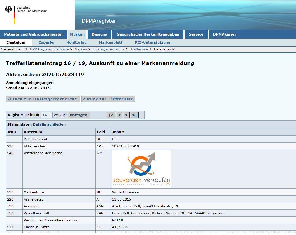 DPMA Rechercheergebnis am Beispiel souveraen-verkaufen